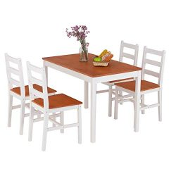 Mecor 5 Piece Wood Dining Table Set, Kitchen Table w/ 4 Chairs for Home Kitchen Breakfast Furnit ...