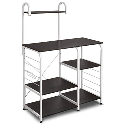 VANSPACE Indusrial Kitchen Baker's Rack Utility Storage Shelf Microwave Stand 4-Tier + 3-T ...