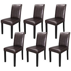 SUPER DEAL Solid Wood Leatherette Padded Parson Dining Chair, Waterproof & Oilproof Stretch  ...