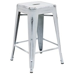 "Flash Furniture 24"" High Backless Distressed White Metal Indoor-Outdoor Counter Height Stool"