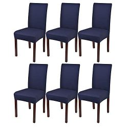 Lacoreka Dining Chair Cover Seat Slipcover Set of 6 Super Fit Stretch Removable Washable Parsons ...