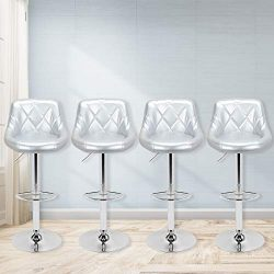 Magshion Faux Leather Bar Stools Adjustable 360 Degree Swivel Backrest Footrest Barstool Set of  ...