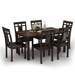 Nightcore Wood Dining Table for 6 People, 59″ L×35.5″ W×29″ H, Oak Legs, Sturd ...
