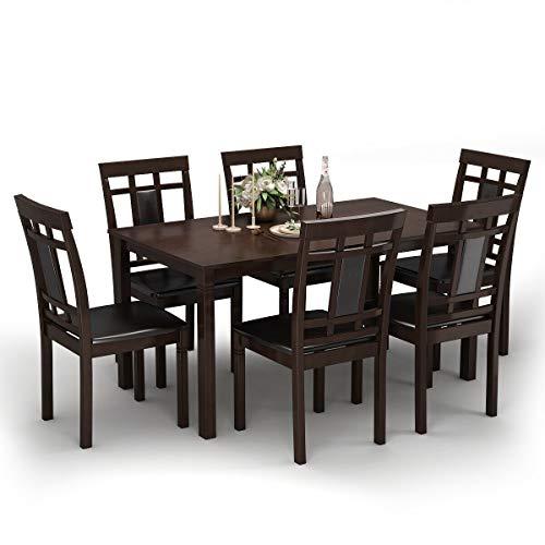 Nightcore Wood Dining Table for 6 People, 59″ L×35.5″ W×29″ H, Oak Legs, Sturd ...
