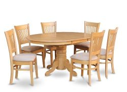 7 Pc Dining set-Dining Table with Leaf and 6 Dinette Chairs.
