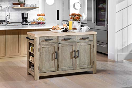 OSP Home Furnishings Cocina Kitchen Island With Spice Rack, Brown