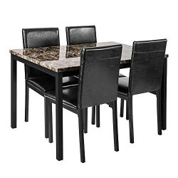 DKLGG 5-Piece Kitchen Table Set, PU Leather Dining Set Faux Marble Top Counter Height Dining Tab ...