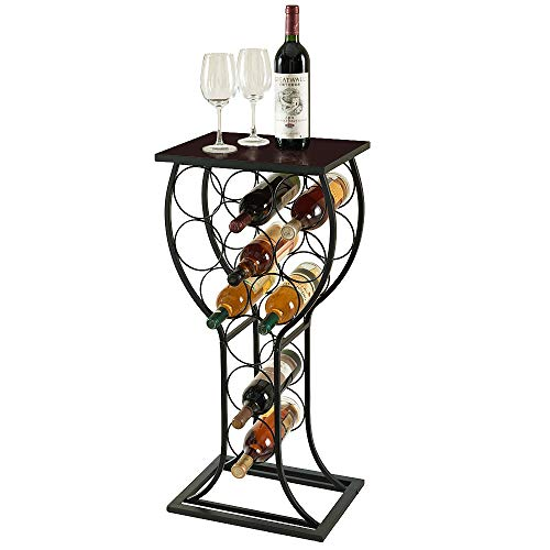 MORITIA Freestanding Wine Storage Organizer Display Rack, Wine Rack Console Table, Vertical Desi ...