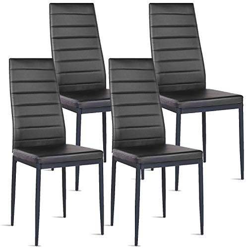 BUTII Set of 4 Dining Chairs with Steel Frame High Back PU Leather Modern Style Side Chair, Eleg ...