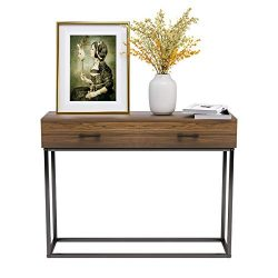 Mecor Console Table, End Table, Sideboard, Industrial Style, with Two Drawers Storage, Living Ro ...