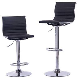 Sidanli Black Adjustable Swivel Counter Bar Stool Chairs with Back (Set of 2)