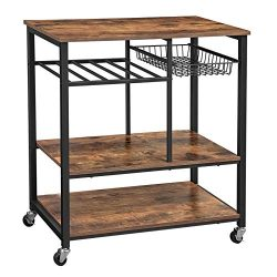 VASAGLE ALINRU Kitchen Cart, Kitchen Baker's Rack, Utility Storage Shelf with Bottle Holde ...