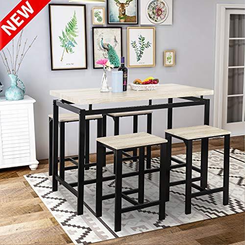 Dining Table Set, LEEKOUS Best 5 Piece Counter Pub Height Table Set, Dinning Room Table Set for  ...