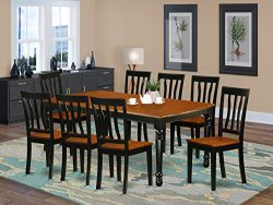 9 PC kitchen tables and chair set with one Dover dining table and 8 kitchen chairs in a Black an ...