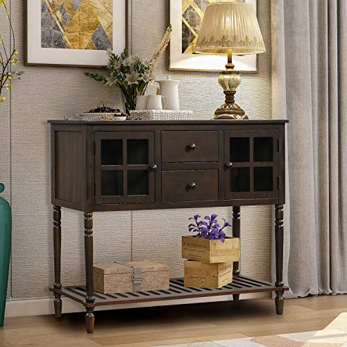 Wood Console Sofa Table with Drawers and Bottom Shelf, Storage Buffet Sideboard Cabinet for Kitc ...