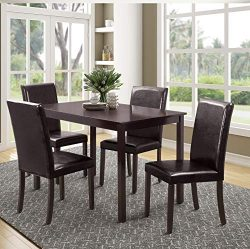 Rhomtree 5 Pieces Dining Set Home Kitchen Table and Chairs Wood Home Dining Room Furniture with  ...