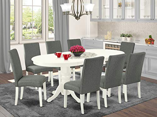 9 Pc Kitchen Set For 8 Dining Table With Leaf And Eight Parson Chair With Linen White Finish Leg ...