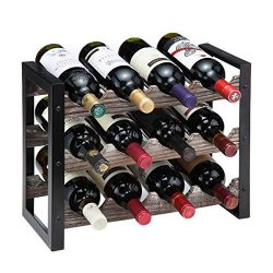 J JACKCUBE DESIGN Rustic Wine Rack Freestanding Floor 3 Tier Stackable Display Storage for Count ...