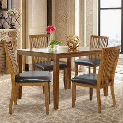 Set of 4 Dining and Kitchen Chairs Dining Chair with PU Covered Cushion and Rubber Wood Legs, Di ...