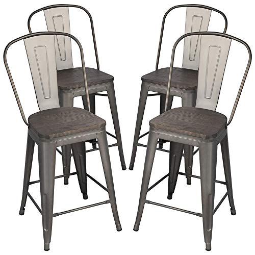 Yaheetech 24Inch Seat Height Tolix Style Dining Stools Chairs with Wood Seat/Top and High Backre ...