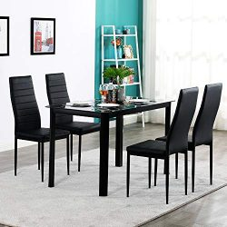 MTFY 5-Piece Kitchen Dining Table Set,Dining Table Set with Modern Tempered Glass Top Table and  ...