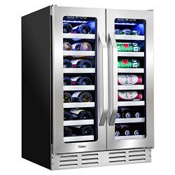 Ivation 40-Bottle Dual-Zone 24″ Built-In Wine Cooler & Beverage Center Combo or (20-Bo ...