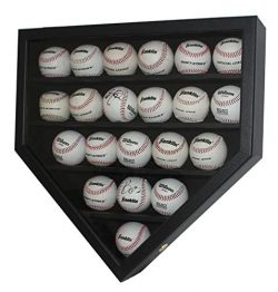 21 Baseball Display Case Wall Cabinet Holder Shadow Box, w/UV Protection, Lockable (Black Frame)