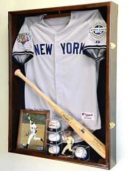 Extra Deep Jacket, Uniform, Jersey Shadow Box Display Case Cabinet w/98% UV Protection, Walnut