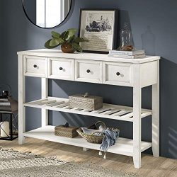 Walker Edison Furniture Company Solid Wood 2 Drawer Buffet Sideboard with Wine Storage, 48″ ...