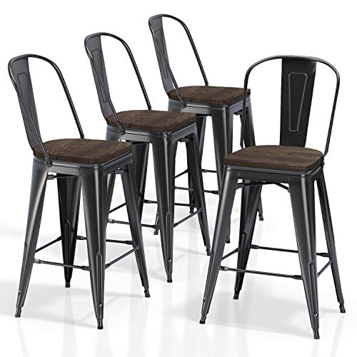 VIPEK 26 Inches Height Bar Stools Counter Height Chairs with Solid Elm Wood Top Seats, Set of 4  ...