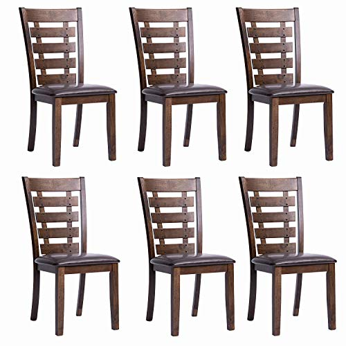 Furgle Set of 6 Dining Side Chair Oak Wood Modern Kitchen Dining Chair with Ladder Back and Upho ...