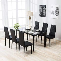 Mecor 7-Piece Glass Kitchen Dining Table Set, Glass Top Table with 6 Faux Leather Chairs Breakfa ...