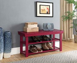 Convenience Concepts Oxford Utility Mudroom Bench, Cranberry Red