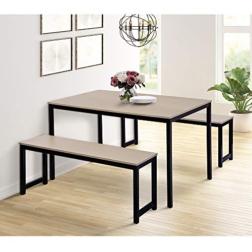 Depointer 3 Pieces Dining Set, Modern Style with Metal Frame Wood Table Top and Two Benches, Hom ...