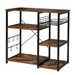 Homfa Kitchen Baker's Rack, Industrial Microwave Stand Utility Storage Shelf Island Rack 3 ...