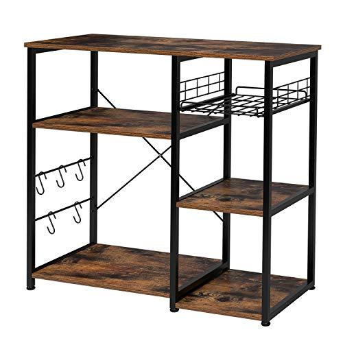 Homfa Kitchen Baker's Rack, Industrial Microwave Stand Utility Storage Shelf Island Rack 3 ...