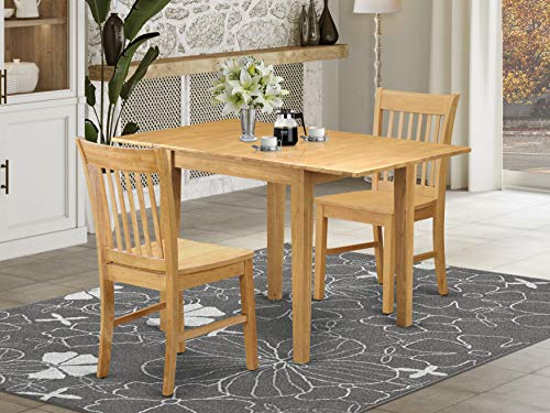 East West Furniture NDNO3-OAK-W Dining Table Set, Oak