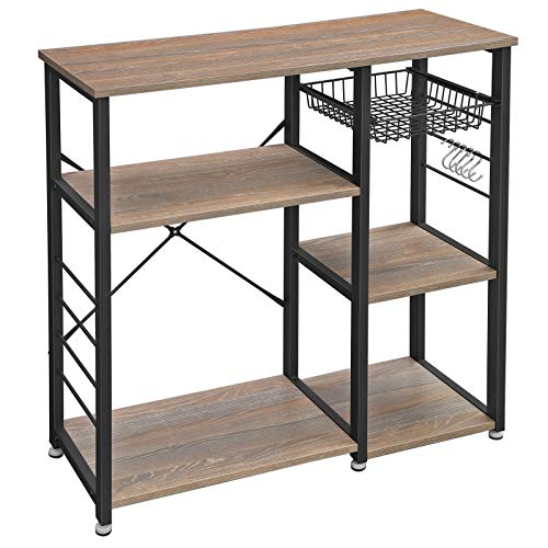 VASAGLE ALINRU Kitchen Baker's Rack, Coffee Bar, Microwave Oven Stand, Industrial, Weather ...
