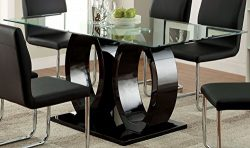 Furniture of America Quezon Dining Table, 54″ x 17.75″ x 26.25″, Black