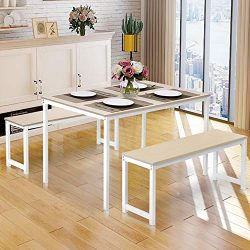 Dining Table Set, Hinpia 3 Pieces Modern Kitchen Table Set with 2 Benches, Wood Tabletop with Me ...