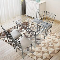 Harper & Bright Designs 5 Pieces Dining Table Set 4 Person Home Kitchen Glass Top Table Set  ...