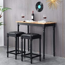 Vlush 3-Piece Solid Wood Pub Table Set, Kitchen Bar Dining Table with Two Padded Stools for Dini ...