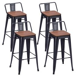 Alunaune 26″ Metal Counter Height Stools Set of 4 Counter Stools with Back, Wood Seat (Low ...