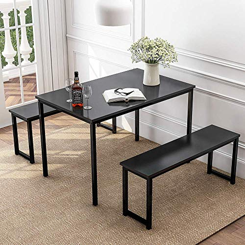 DKLGG Kitchen Table Set, 3 Pieces Dining Room Table Set with Two Benches, Metal Frame and MDF Bo ...