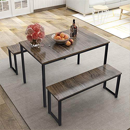 LZ LEISURE ZONE Dining Table Set, 3-Piece Wood Kitchen Table with Two Benches, Dining Room Furni ...